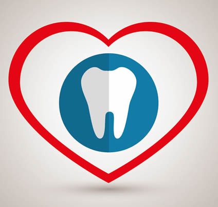 Illustration of tooth wrapped in heart.