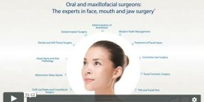 "Photograph of a woman with the headline, "" Oral and Maxillofacial surgeons: The experts in face, mouth and jaw surgery."""
