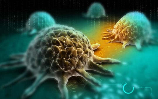 Digital illustration of cancer cell.
